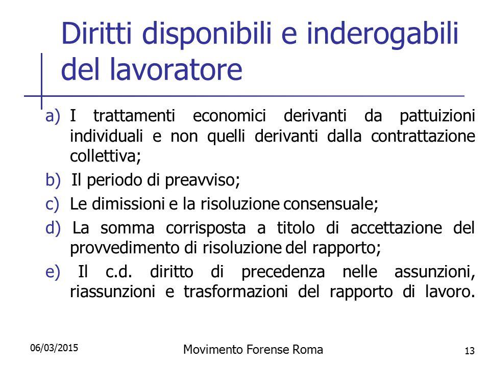 Diritti disponibili e inderogabili del lavoratore a)I trattamenti economici derivanti da pattuizioni individuali e non quelli derivanti dalla contratt