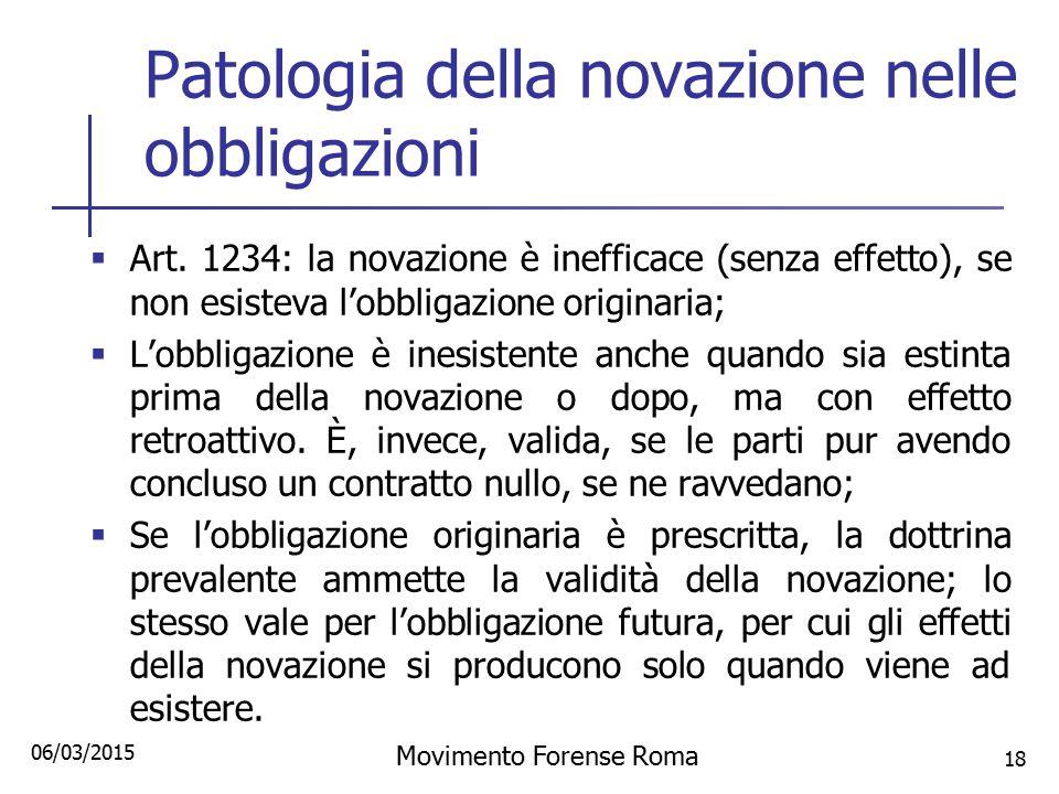 Patologia della novazione nelle obbligazioni  Art. 1234: la novazione è inefficace (senza effetto), se non esisteva l'obbligazione originaria;  L'ob