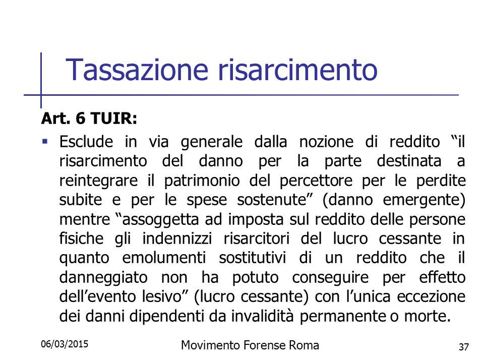 """Tassazione risarcimento Art. 6 TUIR:  Esclude in via generale dalla nozione di reddito """"il risarcimento del danno per la parte destinata a reintegrar"""