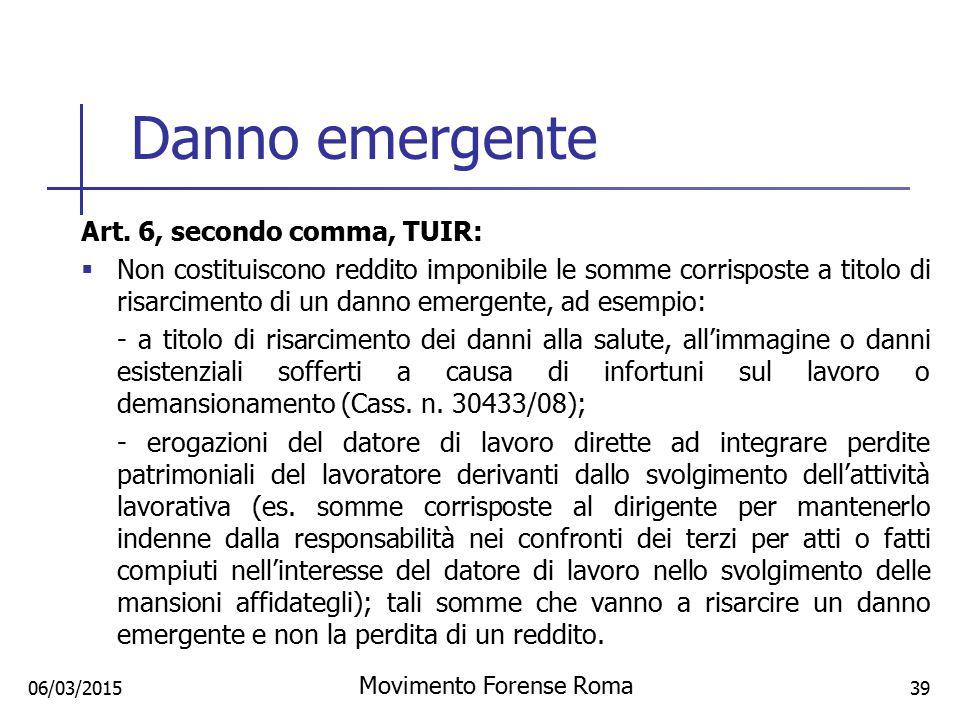 Danno emergente Art. 6, secondo comma, TUIR:  Non costituiscono reddito imponibile le somme corrisposte a titolo di risarcimento di un danno emergent