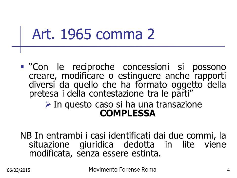 """06/03/2015 Art. 1965 comma 2  """"Con le reciproche concessioni si possono creare, modificare o estinguere anche rapporti diversi da quello che ha forma"""