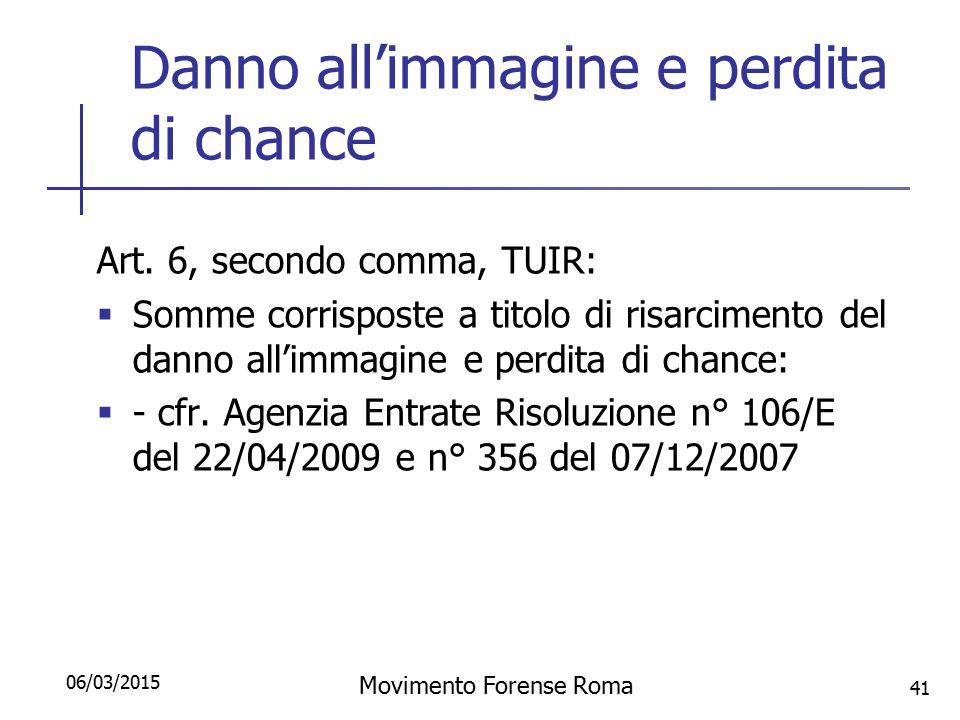 Danno all'immagine e perdita di chance Art. 6, secondo comma, TUIR:  Somme corrisposte a titolo di risarcimento del danno all'immagine e perdita di c