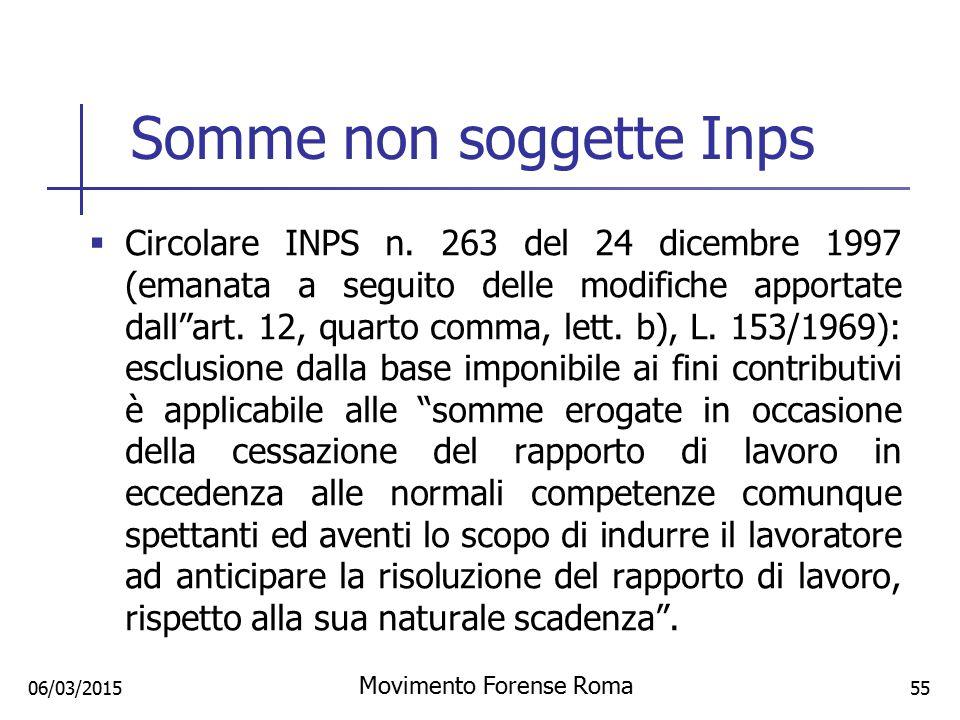 Somme non soggette Inps  Circolare INPS n. 263 del 24 dicembre 1997 (emanata a seguito delle modifiche apportate dall''art. 12, quarto comma, lett. b