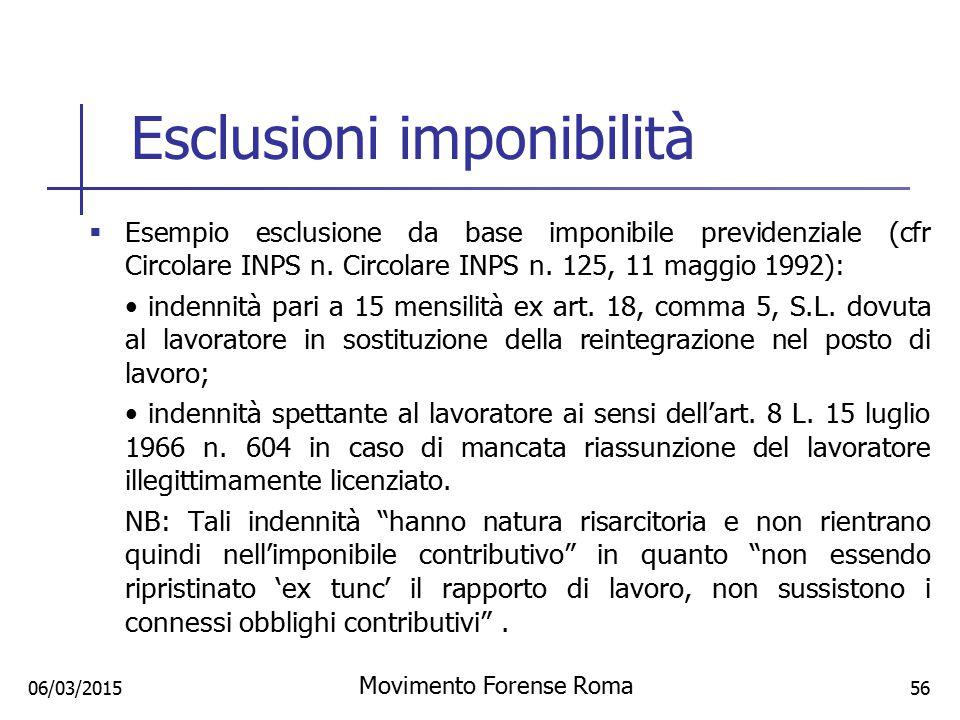 Esclusioni imponibilità  Esempio esclusione da base imponibile previdenziale (cfr Circolare INPS n. Circolare INPS n. 125, 11 maggio 1992): indennità