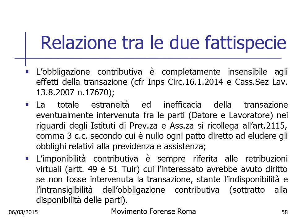 Relazione tra le due fattispecie  L'obbligazione contributiva è completamente insensibile agli effetti della transazione (cfr Inps Circ.16.1.2014 e C