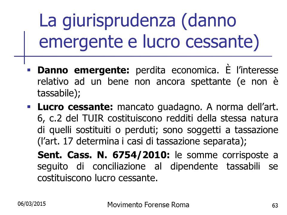 La giurisprudenza (danno emergente e lucro cessante)  Danno emergente: perdita economica. È l'interesse relativo ad un bene non ancora spettante (e n