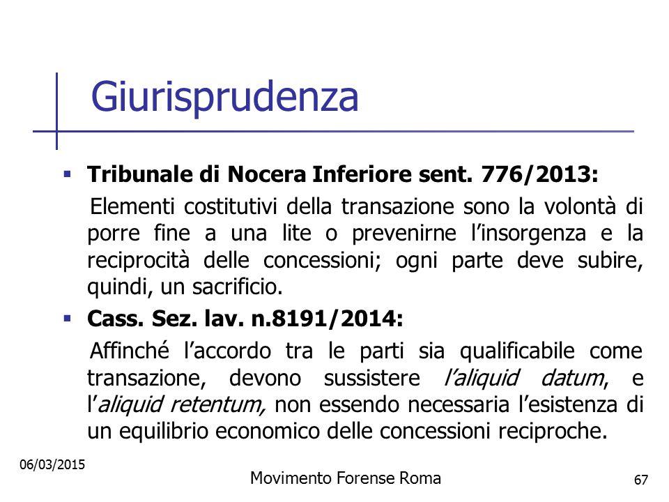 Giurisprudenza  Tribunale di Nocera Inferiore sent. 776/2013: Elementi costitutivi della transazione sono la volontà di porre fine a una lite o preve