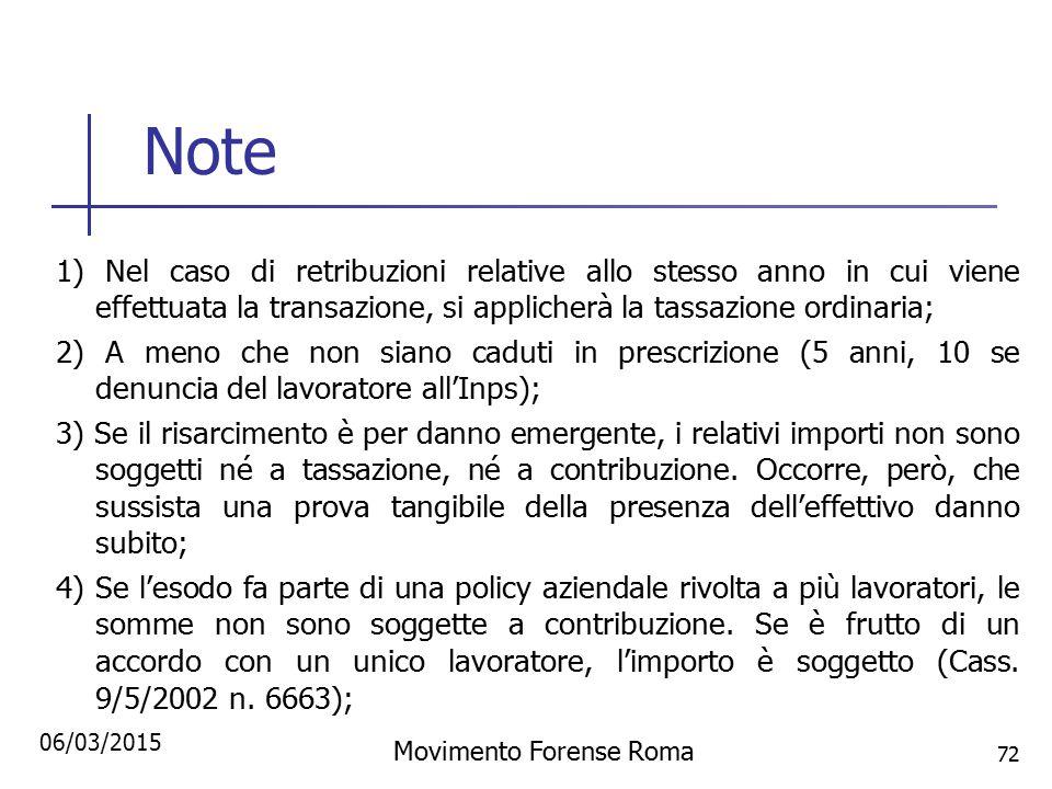 Note 1) Nel caso di retribuzioni relative allo stesso anno in cui viene effettuata la transazione, si applicherà la tassazione ordinaria; 2) A meno ch
