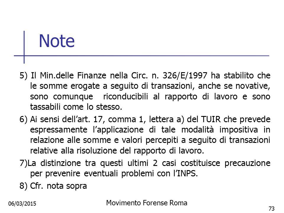 Note 5) Il Min.delle Finanze nella Circ. n. 326/E/1997 ha stabilito che le somme erogate a seguito di transazioni, anche se novative, sono comunque ri