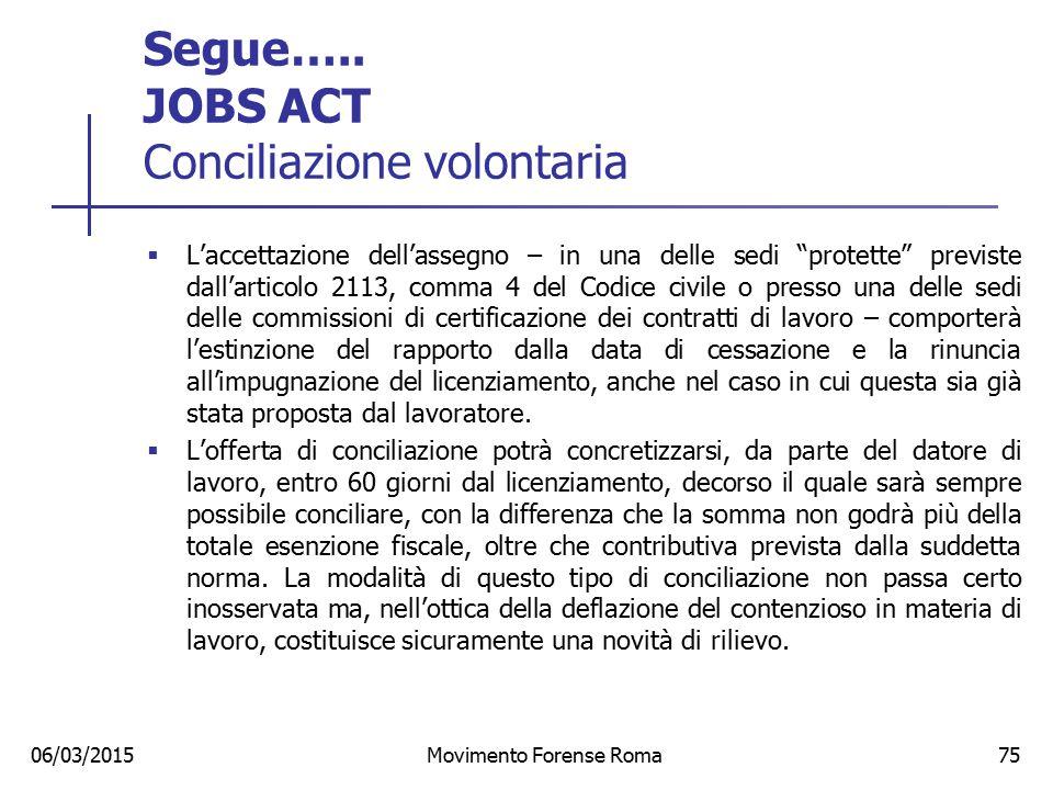 """Segue….. JOBS ACT Conciliazione volontaria  L'accettazione dell'assegno – in una delle sedi """"protette"""" previste dall'articolo 2113, comma 4 del Codic"""