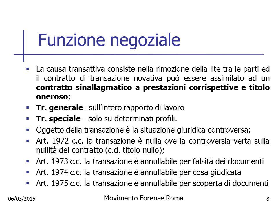Funzione negoziale  La causa transattiva consiste nella rimozione della lite tra le parti ed il contratto di transazione novativa può essere assimila