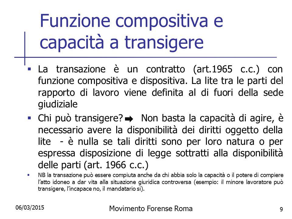 Funzione compositiva e capacità a transigere  La transazione è un contratto (art.1965 c.c.) con funzione compositiva e dispositiva. La lite tra le pa
