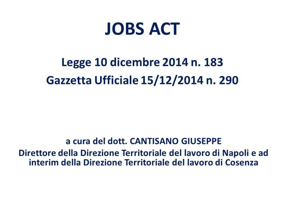JOBS ACT Legge 10 dicembre 2014 n.183 Gazzetta Ufficiale 15/12/2014 n.