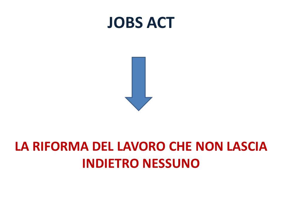 JOBS ACT LA RIFORMA DEL LAVORO CHE NON LASCIA INDIETRO NESSUNO
