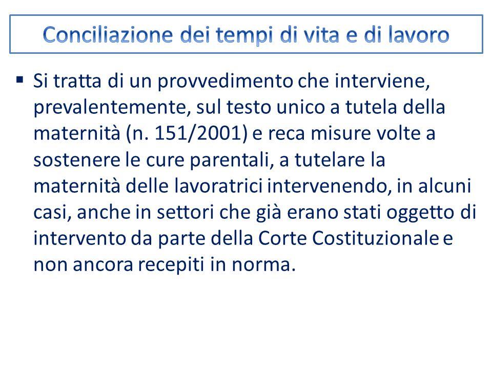  Si tratta di un provvedimento che interviene, prevalentemente, sul testo unico a tutela della maternità (n.