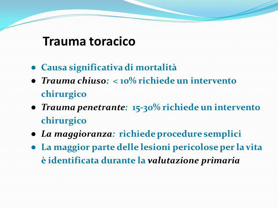 Trauma toracico ● Causa significativa di mortalità ● Trauma chiuso: < 10% richiede un intervento chirurgico ● Trauma penetrante: 15-30% richiede un in
