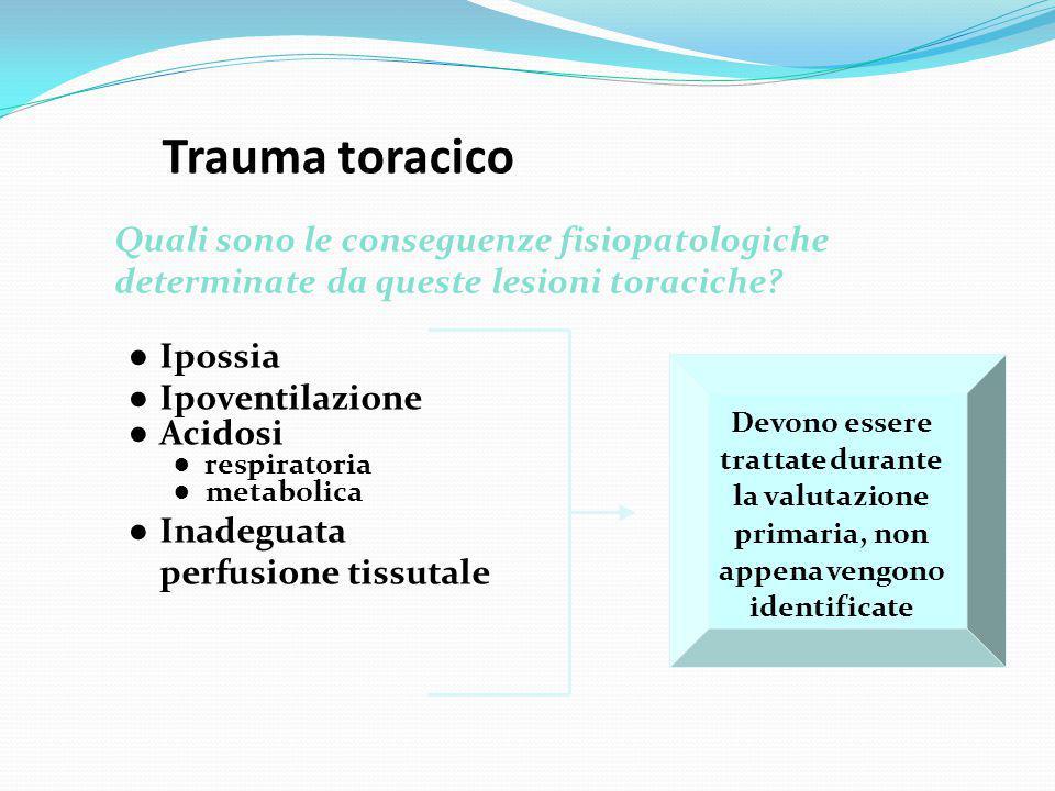 Trauma toracico ● Ipossia ● Ipoventilazione ● Acidosi ● respiratoria ● metabolica ● Inadeguata perfusione tissutale Quali sono le conseguenze fisiopat