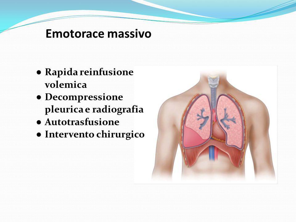 Emotorace massivo ● Rapida reinfusione volemica ● Decompressione pleurica e radiografia ● Autotrasfusione ● Intervento chirurgico
