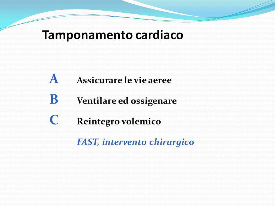 Tamponamento cardiaco A Assicurare le vie aeree B Ventilare ed ossigenare C Reintegro volemico FAST, intervento chirurgico