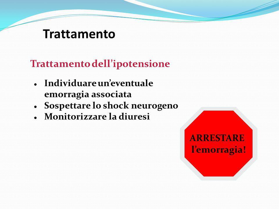 Trattamento ● Individuare un'eventuale emorragia associata ● Sospettare lo shock neurogeno ● Monitorizzare la diuresi Trattamento dell'ipotensione ARR