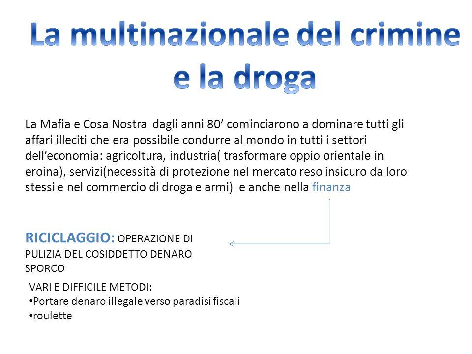 La Mafia e Cosa Nostra dagli anni 80' cominciarono a dominare tutti gli affari illeciti che era possibile condurre al mondo in tutti i settori dell'ec