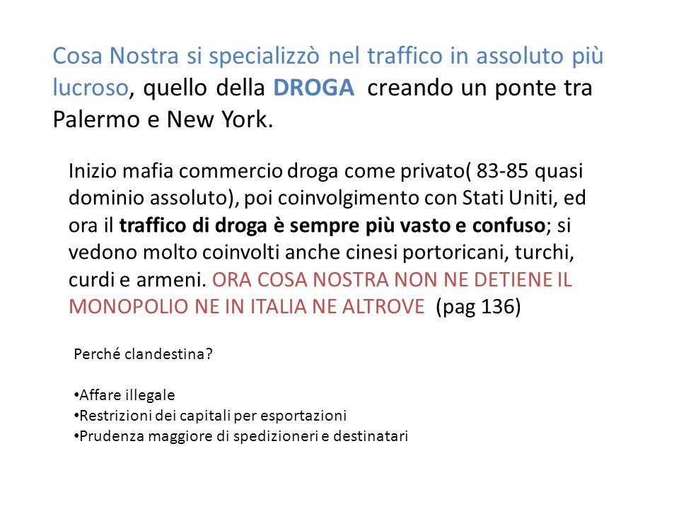Cosa Nostra si specializzò nel traffico in assoluto più lucroso, quello della DROGA creando un ponte tra Palermo e New York. Inizio mafia commercio dr