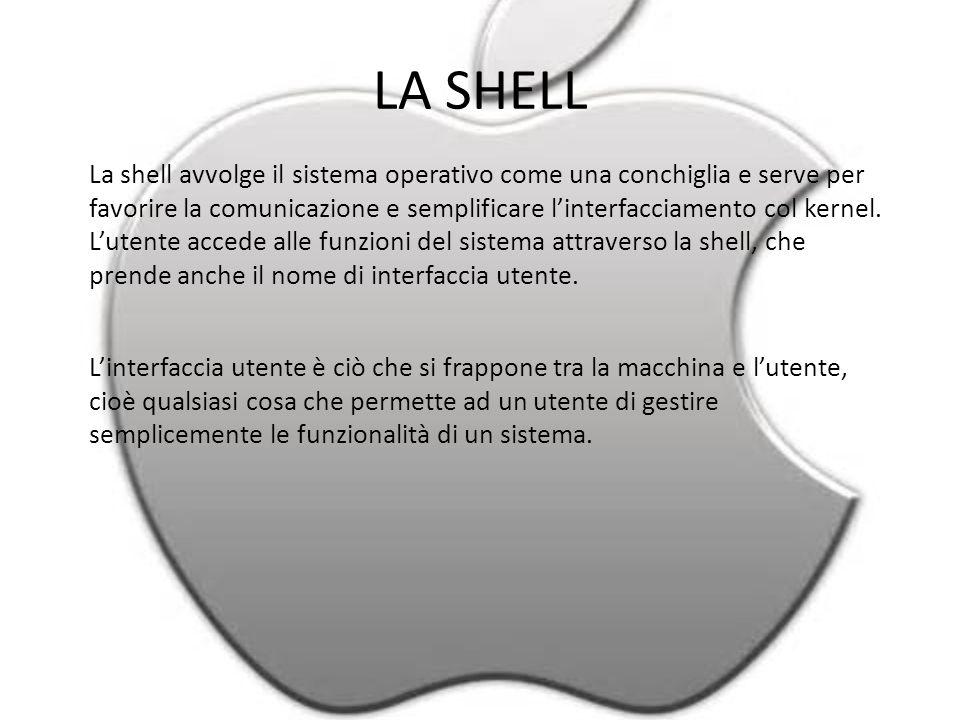 LA SHELL La shell avvolge il sistema operativo come una conchiglia e serve per favorire la comunicazione e semplificare l'interfacciamento col kernel.