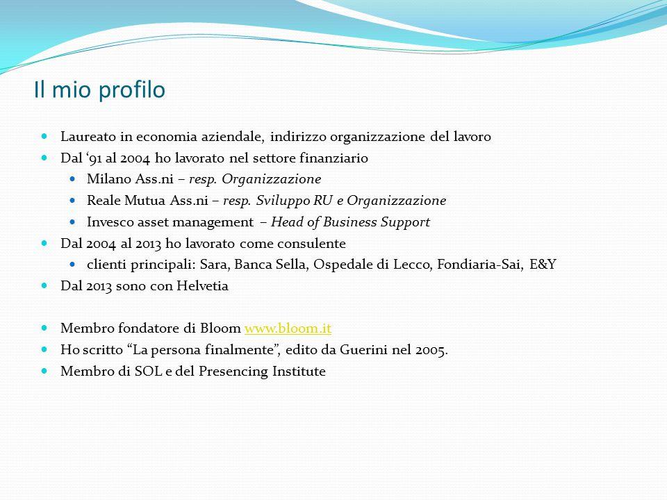 Il mio profilo Laureato in economia aziendale, indirizzo organizzazione del lavoro Dal '91 al 2004 ho lavorato nel settore finanziario Milano Ass.ni –
