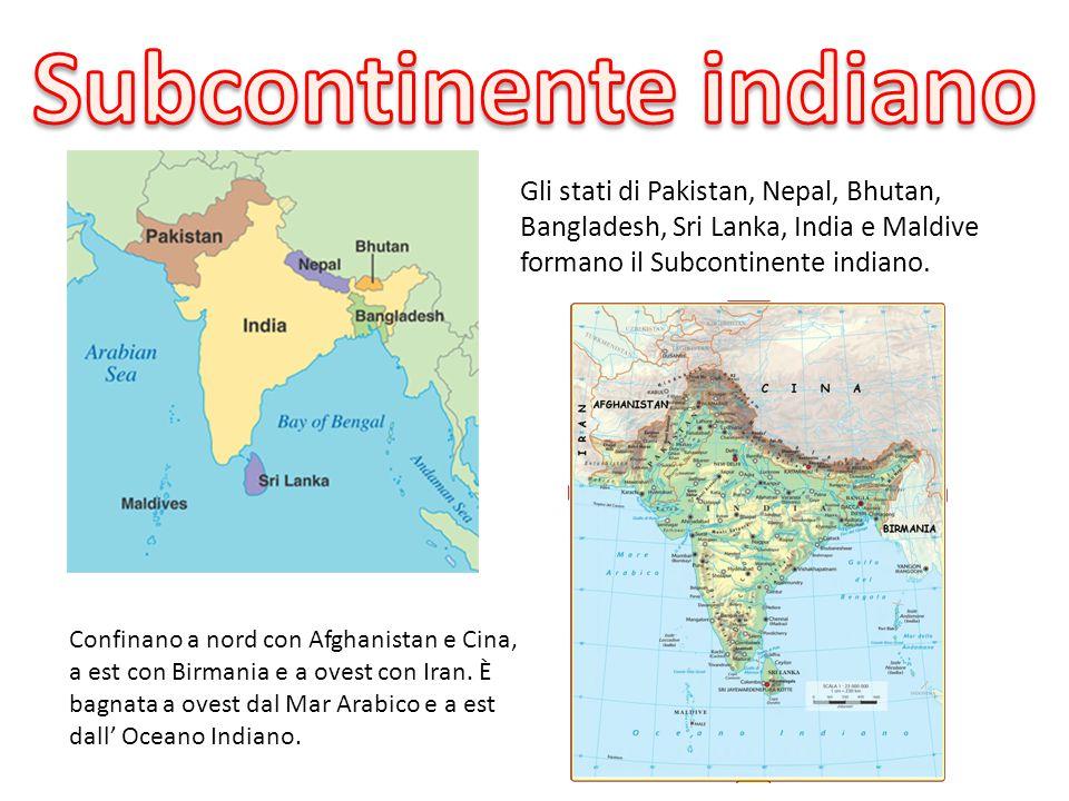 Gli stati di Pakistan, Nepal, Bhutan, Bangladesh, Sri Lanka, India e Maldive formano il Subcontinente indiano. Confinano a nord con Afghanistan e Cina