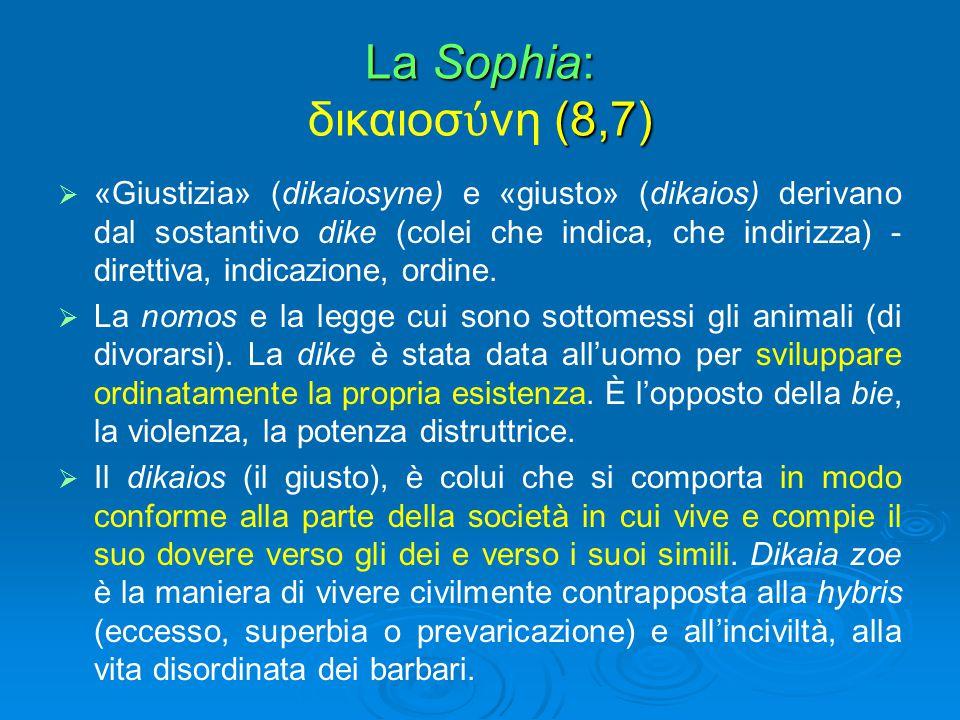La Sophia: (8,7) La Sophia: δικαιοσ ύ νη (8,7)   «Giustizia» (dikaiosyne) e «giusto» (dikaios) derivano dal sostantivo dike (colei che indica, che i