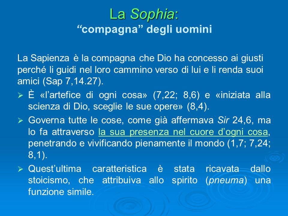 """La Sophia: La Sophia: """"compagna"""" degli uomini La Sapienza è la compagna che Dio ha concesso ai giusti perché li guidi nel loro cammino verso di lui e"""