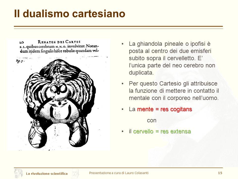 La rivoluzione scientifica Il dualismo cartesiano Presentazione a cura di Lauro Colasanti15 La ghiandola pineale o ipofisi è posta al centro dei due e