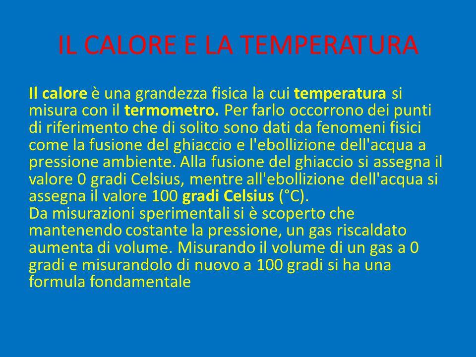 IL CALORE E LA TEMPERATURA Il calore è una grandezza fisica la cui temperatura si misura con il termometro. Per farlo occorrono dei punti di riferimen