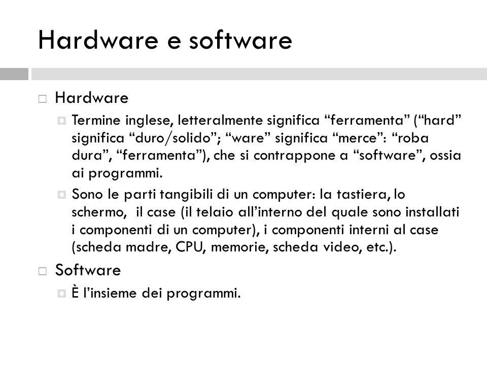 """Hardware e software  Hardware  Termine inglese, letteralmente significa """"ferramenta"""" (""""hard"""" significa """"duro/solido""""; """"ware"""" significa """"merce"""": """"rob"""