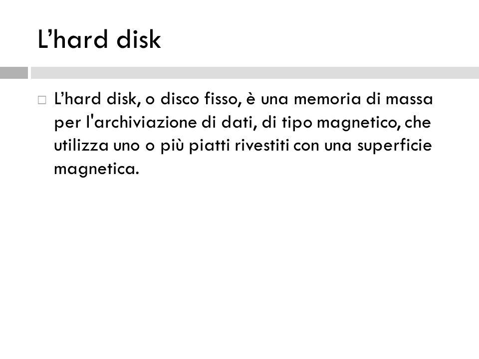 L'hard disk, o disco fisso, è una memoria di massa per l'archiviazione di dati, di tipo magnetico, che utilizza uno o più piatti rivestiti con una s