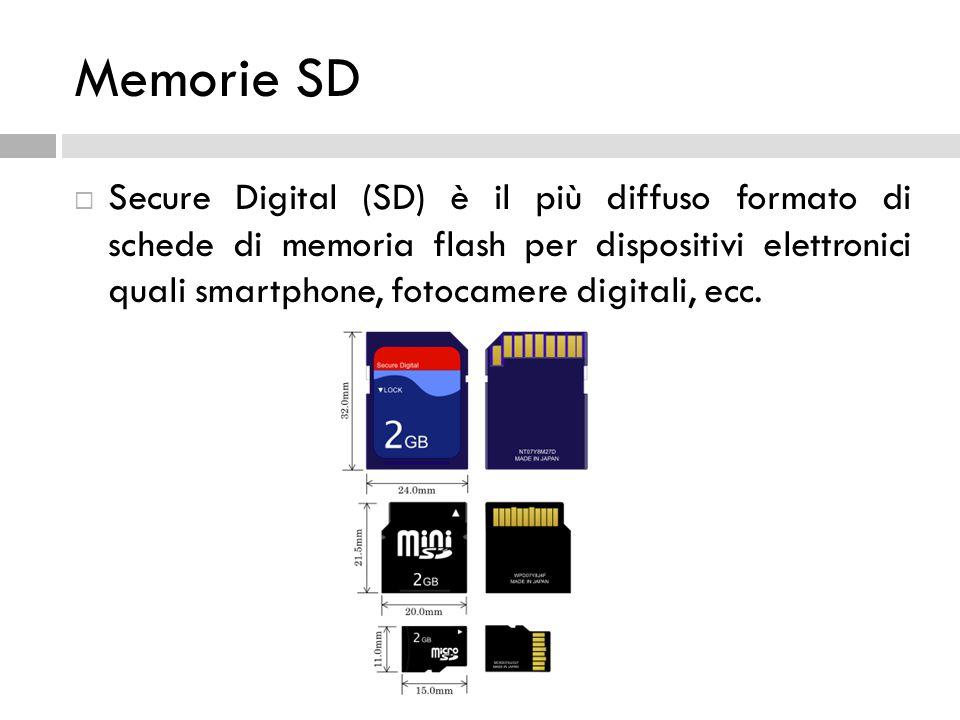 Memorie SD  Secure Digital (SD) è il più diffuso formato di schede di memoria flash per dispositivi elettronici quali smartphone, fotocamere digitali