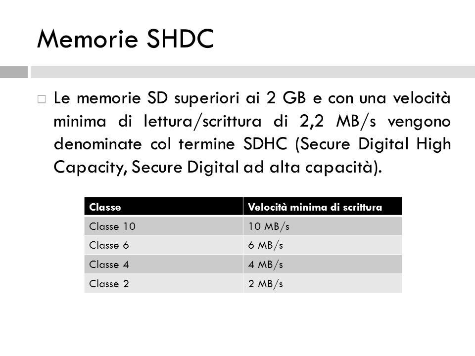 Memorie SHDC  Le memorie SD superiori ai 2 GB e con una velocità minima di lettura/scrittura di 2,2 MB/s vengono denominate col termine SDHC (Secure