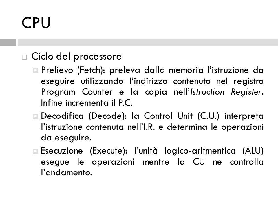 CPU  Ciclo del processore  Prelievo (Fetch): preleva dalla memoria l'istruzione da eseguire utilizzando l'indirizzo contenuto nel registro Program C