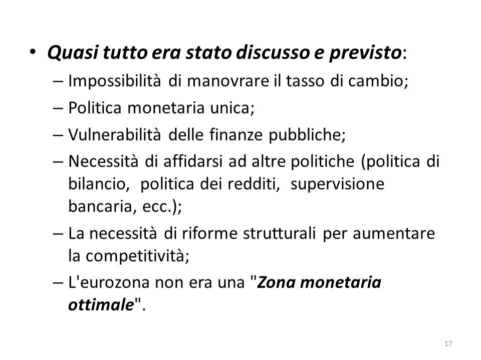 Quasi tutto era stato discusso e previsto: – Impossibilità di manovrare il tasso di cambio; – Politica monetaria unica; – Vulnerabilità delle finanze pubbliche; – Necessità di affidarsi ad altre politiche (politica di bilancio, politica dei redditi, supervisione bancaria, ecc.); – La necessità di riforme strutturali per aumentare la competitività; – L eurozona non era una Zona monetaria ottimale .