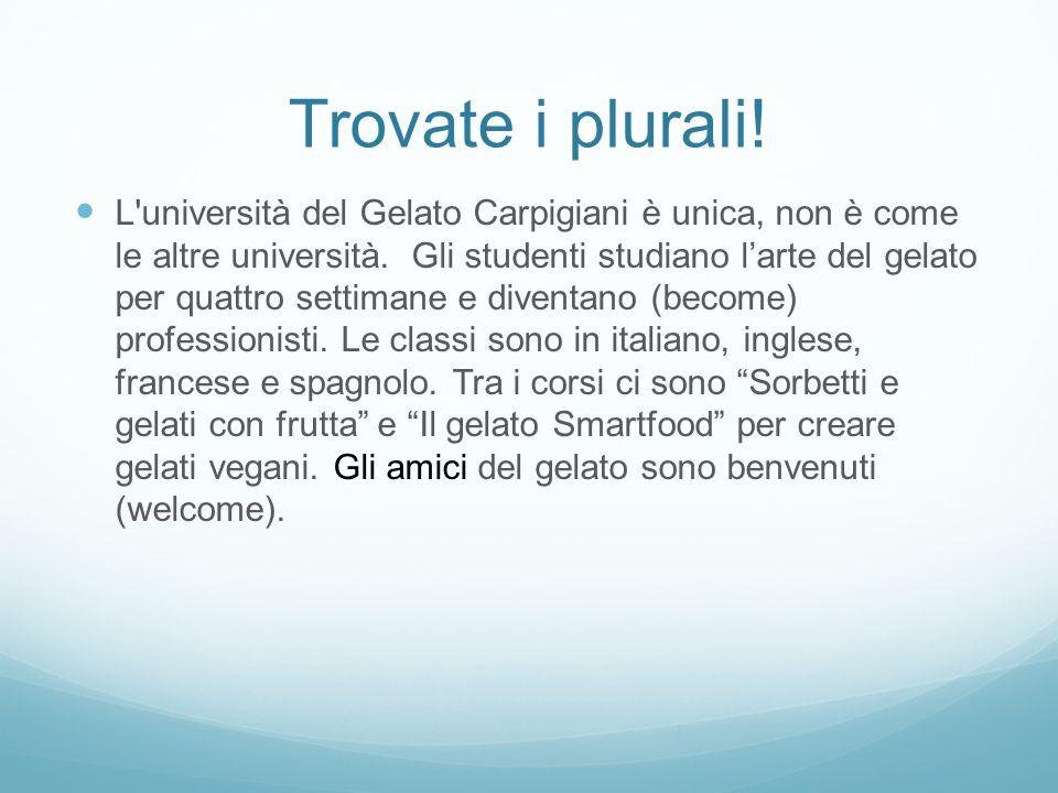 Trovate i plurali! L'università del Gelato Carpigiani è unica, non è come le altre università. Gli studenti studiano l'arte del gelato per quattro set