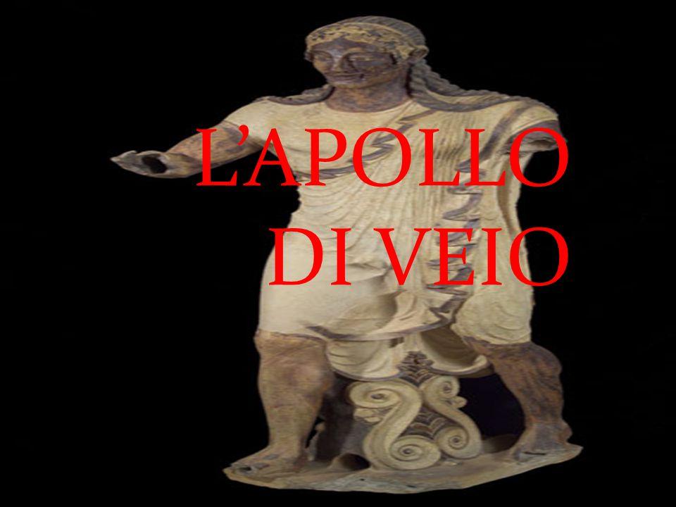 SPIEGAZIONE La statua di Apollo da Veio, in terracotta policroma, è uno dei capolavori dell'arte etrusca, della fine del VI secolo a.C., celebre nel mondo.