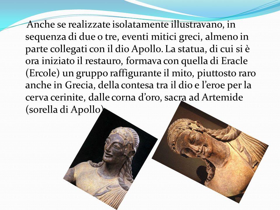 Anche se realizzate isolatamente illustravano, in sequenza di due o tre, eventi mitici greci, almeno in parte collegati con il dio Apollo. La statua,