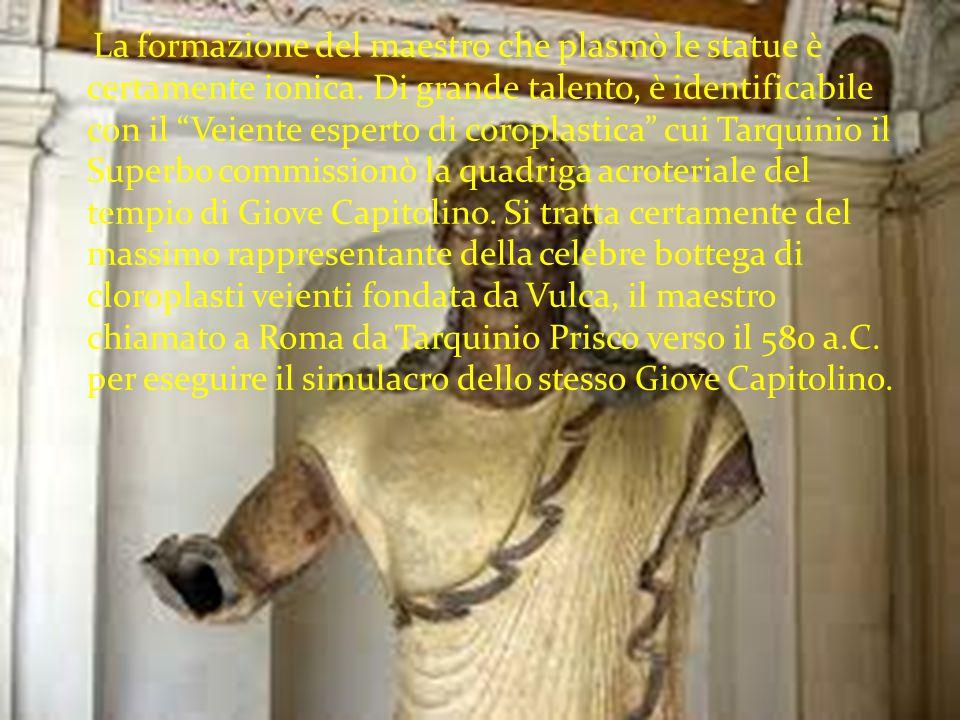 """La formazione del maestro che plasmò le statue è certamente ionica. Di grande talento, è identificabile con il """"Veiente esperto di coroplastica"""" cui T"""