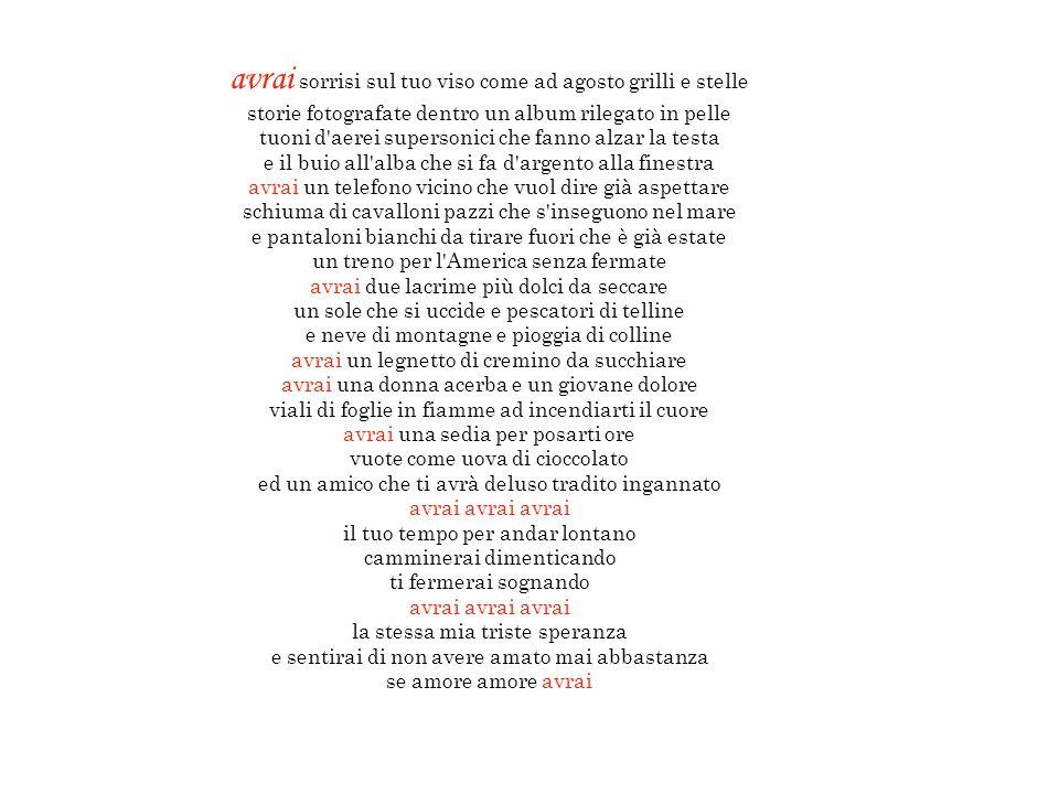 LEGGI E ASCOLTA LEGGI E ASCOLTA LEGGI E ASCOLTA LEGGI E ASCOLTA AVRAI (Baglioni) A TE (Jovanotti) FIGLIA (Vecchioni) BENVENUTA (Masini) PPSITALIAPPSITALIA BY ALBIEMOTIONSALBIEMOTIONS 4 canzoni dedicate ai figli Clicca sulla freccia rossa, per leggere il testo mentre ascolti la canzone….