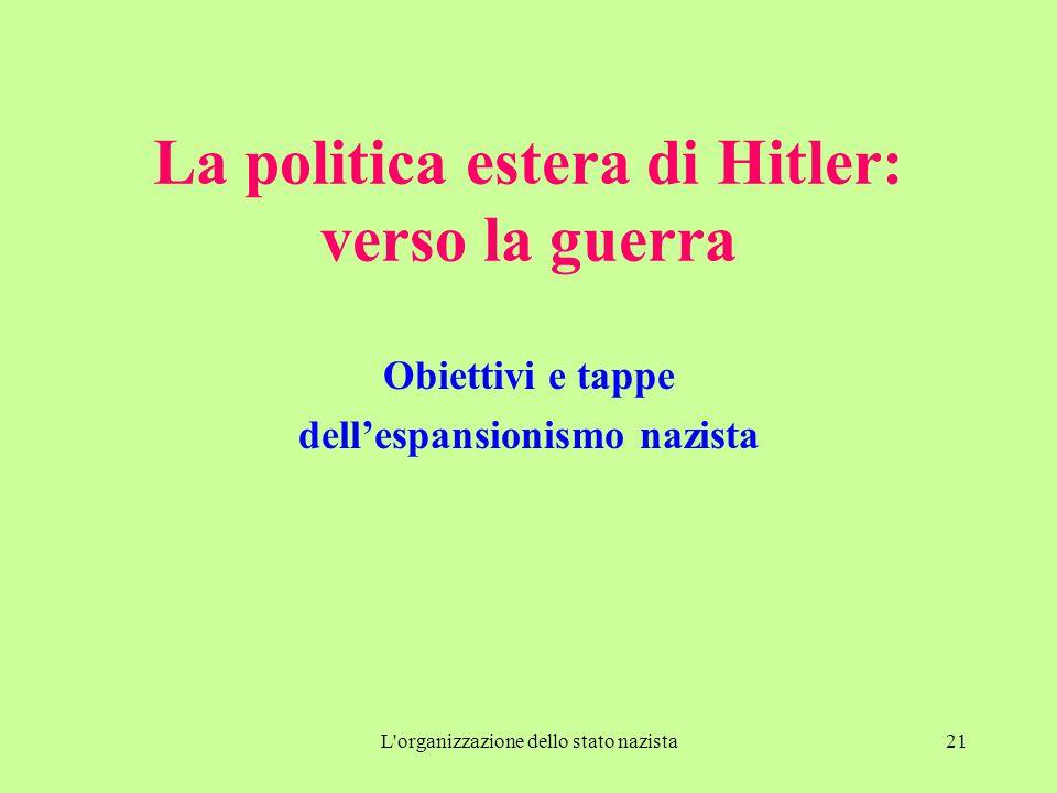 L organizzazione dello stato nazista21 La politica estera di Hitler: verso la guerra Obiettivi e tappe dell'espansionismo nazista