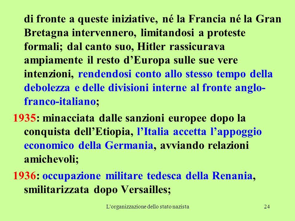 L organizzazione dello stato nazista24 di fronte a queste iniziative, né la Francia né la Gran Bretagna intervennero, limitandosi a proteste formali; dal canto suo, Hitler rassicurava ampiamente il resto d'Europa sulle sue vere intenzioni, rendendosi conto allo stesso tempo della debolezza e delle divisioni interne al fronte anglo- franco-italiano; 1935: minacciata dalle sanzioni europee dopo la conquista dell'Etiopia, l'Italia accetta l'appoggio economico della Germania, avviando relazioni amichevoli; 1936: occupazione militare tedesca della Renania, smilitarizzata dopo Versailles;