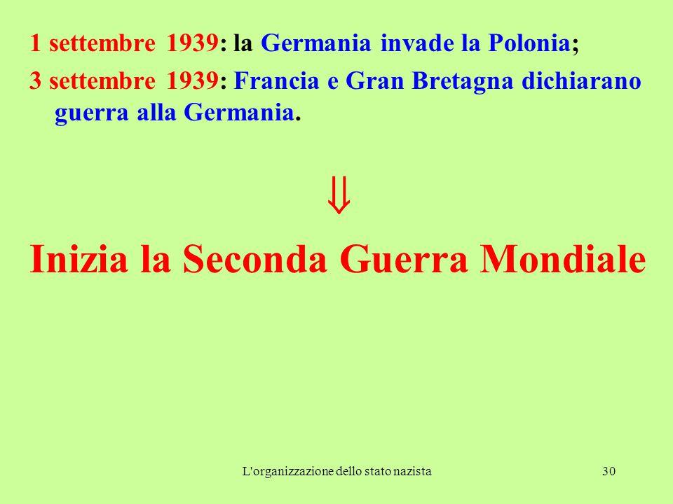 L'organizzazione dello stato nazista30 1 settembre 1939: la Germania invade la Polonia; 3 settembre 1939: Francia e Gran Bretagna dichiarano guerra al