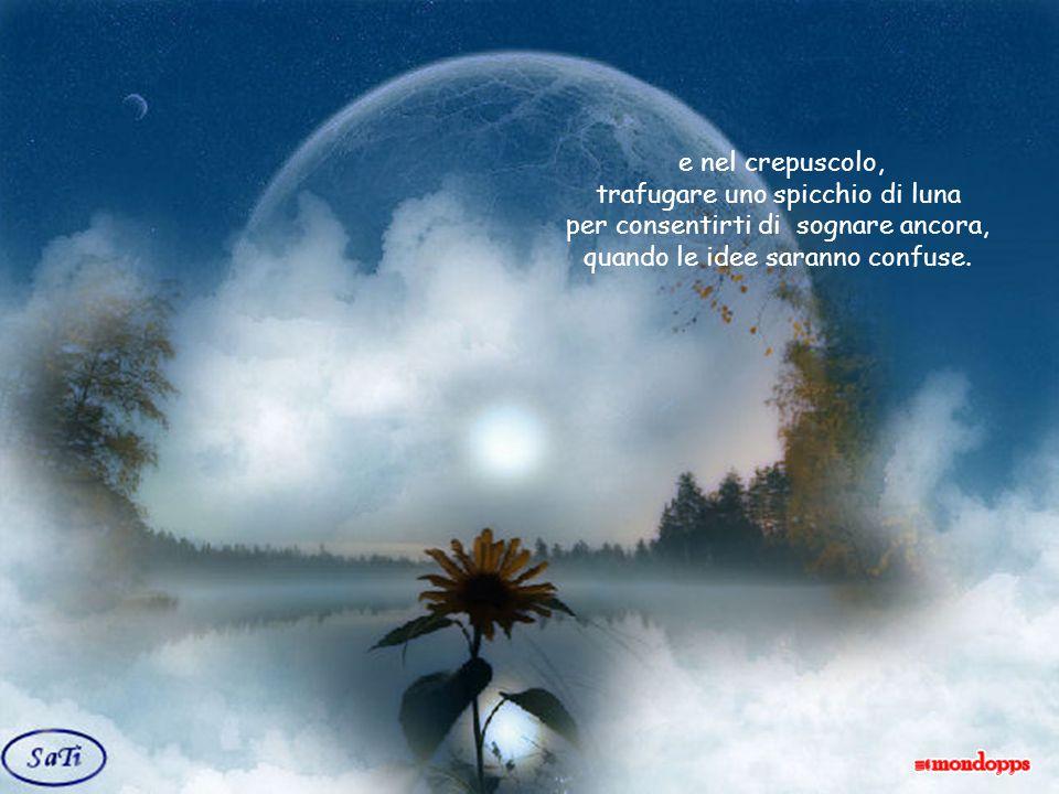 e nel crepuscolo, trafugare uno spicchio di luna per consentirti di sognare ancora, quando le idee saranno confuse.