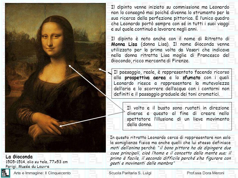Arte e Immagine: Il CinquecentoScuola Paritaria S. LuigiProf.ssa Dora Meroni La Gioconda 1505-1514, olio su tela, 77x53 cm Parigi, Musée du Louvre Il