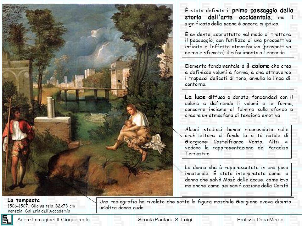 Arte e Immagine: Il CinquecentoScuola Paritaria S. LuigiProf.ssa Dora Meroni La tempesta 1506-1507, Olio su tela, 82x73 cm Venezia, Galleria dell'Acca